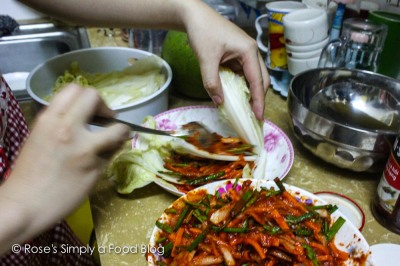 Spreading kimchi chili paste...